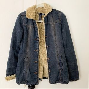 Abercrombie & Fitch Denim Shearling Jacket